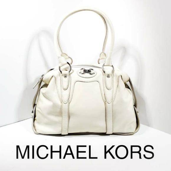 Michael Kors Handbags - Michael Kors Cream Patent Lesther Satchel Bag